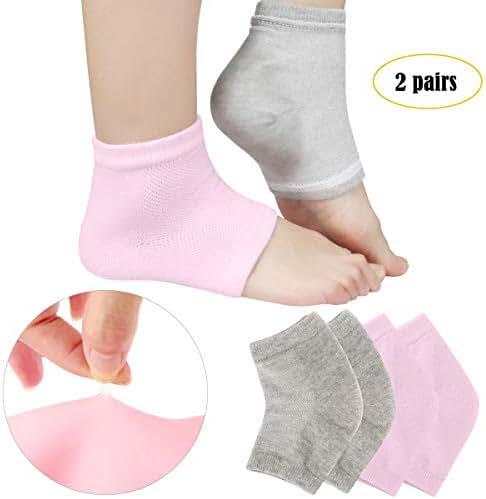 Codream Vented Moisturizing Socks Lotion Gel for Dry Cracked Heels, Spa Gel Socks Humectant Moisturizer Heel Balm Foot Treatment Care Heel Softener Compression 2 Pairs