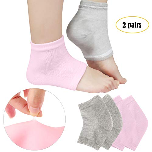 (Codream Vented Moisturizing Socks Lotion Gel for Dry Cracked Heels, Spa Gel Socks Humectant Moisturizer Heel Balm Foot Treatment Care Heel Softener Compression 2 Pairs)