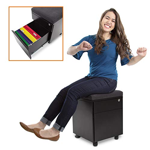 (Stand Steady Vert - Rolling File Cabinet / 2 Drawer Mobile File Cabinet with Cushion Top | Small Filing Cabinet Delivers Convenient Storage, Key Lock, and an Extra Place to Sit! (Black))
