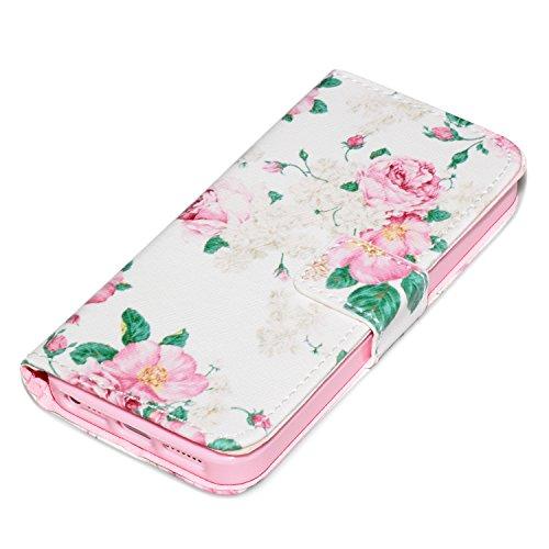 deinPhone Apple iPhone 5 5S KUNSTLEDER FLIP CASE Hülle Tasche Blumengesteck Weiß
