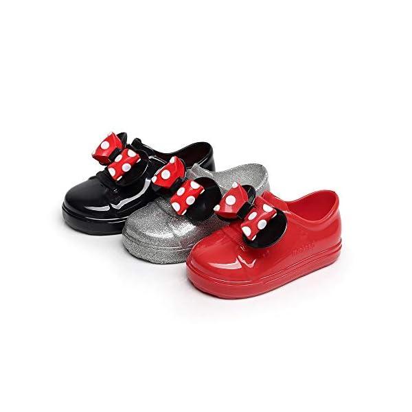 Sikye Kids' Waterproof Sneaker Dot Bowknot Rubber Rain Boot Slip On Solid Color for Toddler Girls