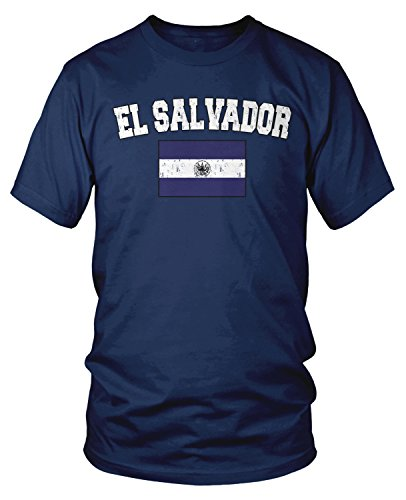 Amdesco Men's Salvadoran Flag, Home Flag of El Salvador T-shirt, Navy Blue XL