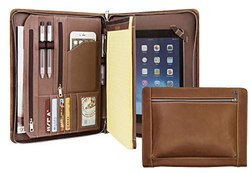 Vintage Crazy-Horse Leather Portfolio for9.7-inch iPad Pro/iPad, Handmade Padfolio Case Business Zippered Organizer Document Folder with Letter Size - Portfolio Case Professional