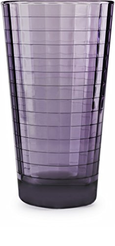 Circleware 44822 Windowpane Heavy Base Juice Drinking Glasses, Set of 4 Kitchen Entertainment Ice Tea Beverage Cups Glassware for Water, Milk, Beer, Whiskey and Bar Decor Gift, 17 oz, Plum by Circleware (Image #3)
