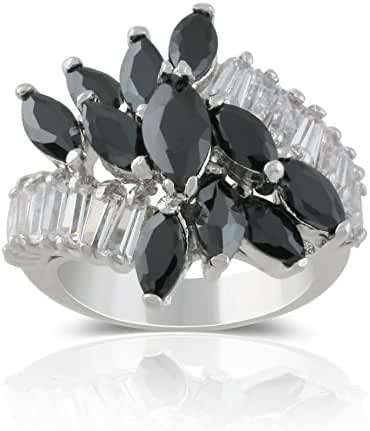 JanKuo Jewelry Rhodium Plated Marquise Floral Black Jet Color with Baguette Cubic Zirconia Cocktail Ring