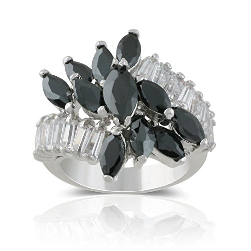 JanKuo Jewelry Rhodium Plated Marquise Floral Black Jet Color with Baguette Cubic Zirconia Cocktail Ring (7) (Color Plated Rhodium)