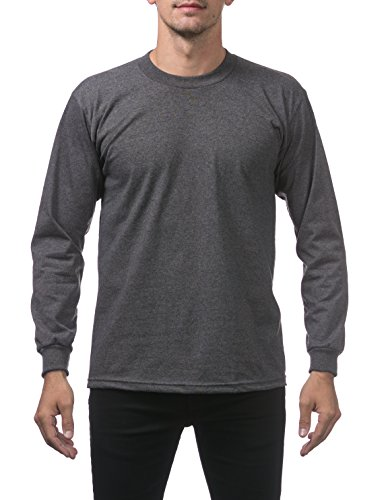 Pro Club Men's Heavyweight Cotton Long Sleeve Crew Neck T-Shirt, Small, Charcoal