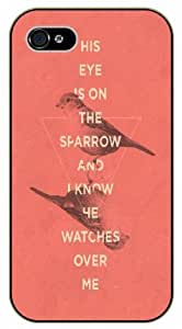 His eye is on the arrow and I know he watches over me - Vintage bird - Pink - Bible verse iPhone 5 / 5s black plastic case / Christian Verses