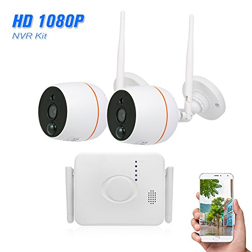 4CH WiFi Mini NVR Kit Video Surveillance TF Card Record with 2PCS 1080P Wireless IP Camera Set Audio PIR Motion Detection Outdoor Waterproof APP Remote Control CCTV Security Camera System