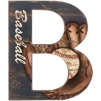 Baseball Letter B Wood Wall Decoration Boys Room Kids Decor by onlinepartycenter (Image #1)