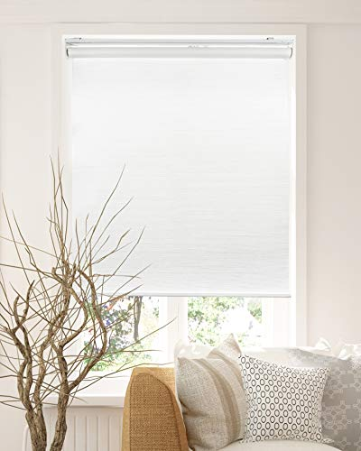 Chicology Cordless Roller Shades Snap-N'-Glide, Privacy & Natural WovenPerfect for Living Room/Bedroom/Nursery/Office and More.Felton White (Privacy & Natural Woven), 23″W X 72″H