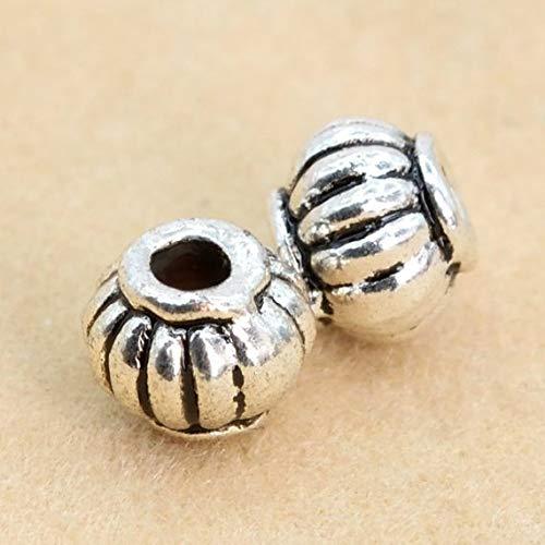 (30 Pcs - 4x4MM Antique Silver Tone Pumpkin Spacer Beads (62398-2257) #PS_18608)
