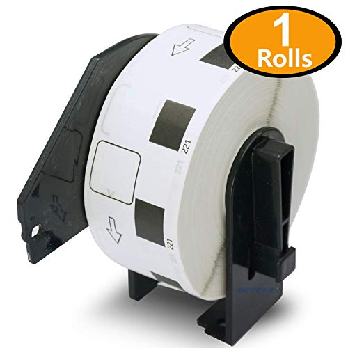 1 Rolls Brother-Compatible DK-1221 23mm x 23mm(10/11 X 10/11) 1000 Square Paper Labels With Refillable Cartridge