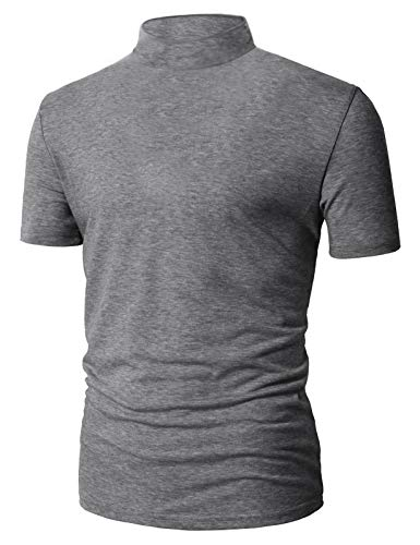(Men's Premium Lightweight Short Sleeve Mock Neck T-Shirt Pullover Tops Grey)
