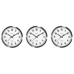 La Crosse Technology 404-1235UA-SS 14 Inch UltrAtomic Analog Stainless Steel Wall Clock (3-Pack)