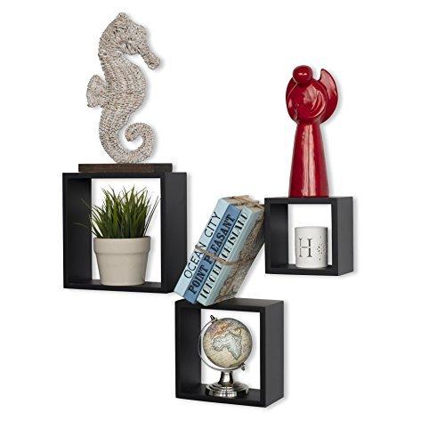 WALLNITURE Modern Home Decor Square Cube Floating Wall Shelf Black Set of 3