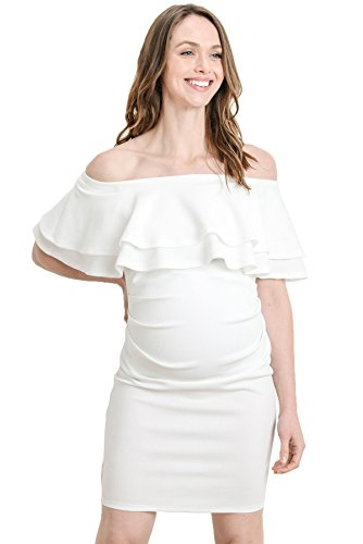 LaClef Women's Off Shoulder Maternity Dress with Double Ruffle (Off White, Large)
