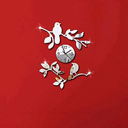 Alrens(TM)Birds on Tree Branches 3D Wall Clock Acrylic Mirror Quartz Watch horloge
