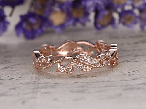 Antique Diamond Wedding Band Art Deco Solid 14k Rose Gold Filigree Vintage Engagement Ring Milgrain Vine Twig Stacking Ring Matching Band Full Eternity Retro Diamond Ring