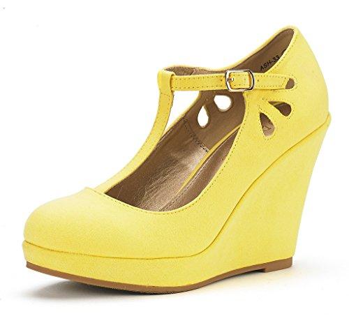 Dream Pairs Women's ASH-33 Yellow Wedge Heel Platform Pump Shoes - 7.5 M (Platform Pumps Shoes)