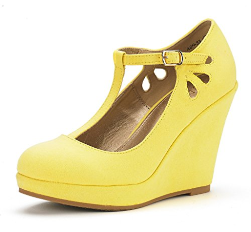Dream Pairs Women's ASH-33 Yellow Wedge Heel Platform Pump Shoes - 11 M (Heel 0.75