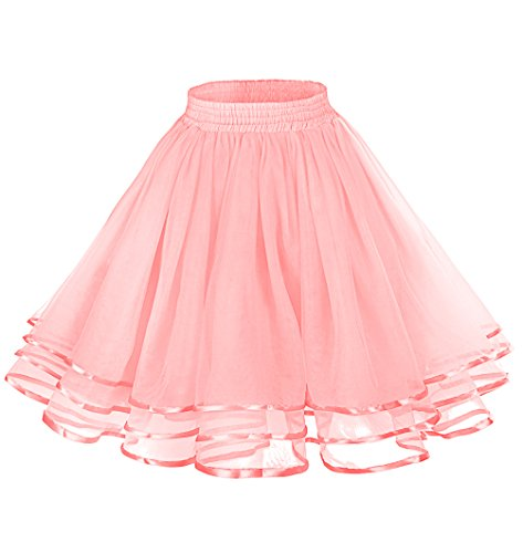 tage Petticoat Tutu Underskirt Crinoline Dance Slip with Belt Pink L (Ballerina Length Long Gown)