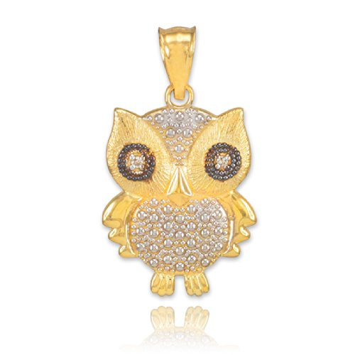 Fine 14k Two-Tone Gold Diamond Owl Charm (Vintage 14k Gold Charm)