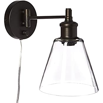 globe electric leclair 1light plugin or hardwire industrial wall sconce dark