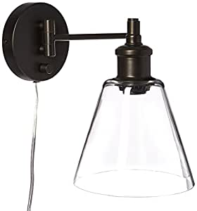 Globe Electric LeClair 1-Light Plug-In or Hardwire Industrial Wall Sconce, Dark Bronze Finish, On/Off Rotary Switch on Canopy, 6 Foot Clear Cord, 65311