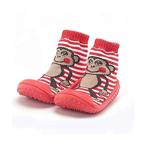 Baby Socks with Rubber Soles Children Non-slip Breathable Toddler Shoes Socks Cotton Baby Sock Shoes (about 12 cm, Red Monkey) ()