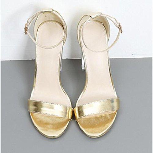 sintético bomba champán Oro PU ZHZNVX Stiletto de de Zapatos microfibra Casual Champagne talón Plata sandalias Comfort Primavera mujer básica Verano wrqIp8Wq