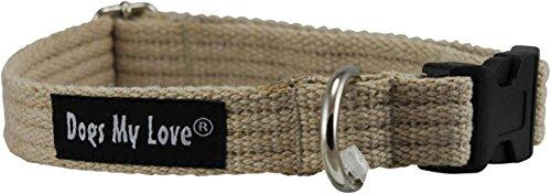 Cotton Web Adjustable Dog Collar 4 Sizes Beige (Small: Neck 11.5