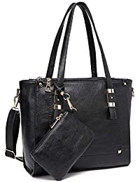 VASCHY Tote Bag for Women, Faux Leather Top Handle Triple Compartment Satchel Work Handbag Purse for Ladies with Little Pouch