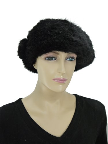 Knit Mink Beret Hat with Rosette - Black