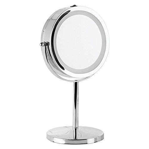 InterDesign Free-Standing Portable Double-Sided Vanity Mirror with Lighting for Bathroom, 13-inch, Chrome