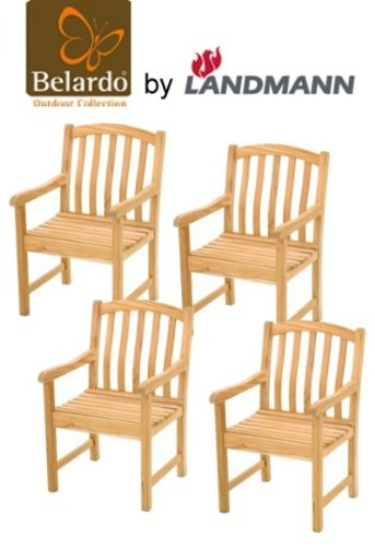 4er Set Belardo by Landmann Garten Sessel Teak Holz Stuhl Gartenmöbel NEU