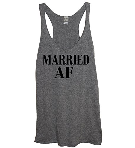 Its Your Day Clothing Married AF Soft Tri-Blend Womens Heather Gray Racerback Tank Top