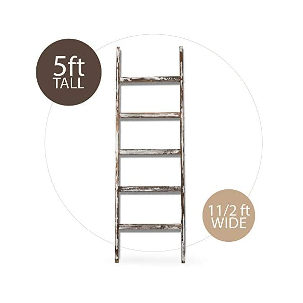 Sunsnap Wooden Antique Farmhouse Blanket Ladder | 5ft White Rustic Decorative Wall Leaning Farm Decor Rack for Throw…