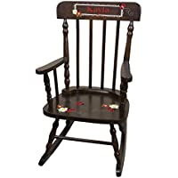 Personalized Espresso Red Ladybug Rocking Chair