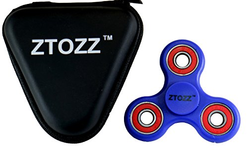 Price comparison product image Spinner Fidget Stress Reducer Premium Hybrid Ceramic Bearing 15 Colors for Kids & Adults by ZTOZZ (Blue/Red+ Bag)