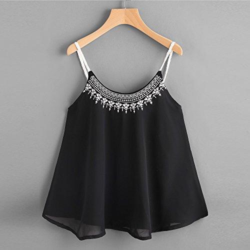 Embroidered Chiffon Cami Fashion Top Negro Womens Sleeveless Bata Casual Tank Tops xwX7qRXY
