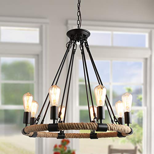 LNC Farmhouse Chandelier for Dining Rooms Ceiling Light Fixture, A0253203, Brown (Chandelier Vacuum)