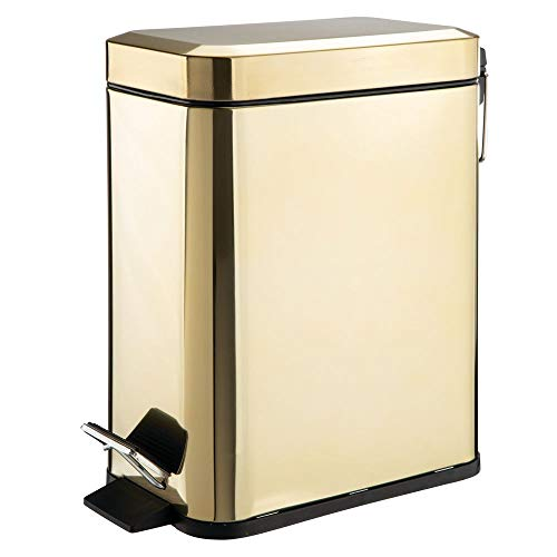 angular Small Steel Step Trash Can Wastebasket, Garbage Container Bin for Bathroom, Powder Room, Bedroom, Kitchen, Craft Room, Office - Removable Liner Bucket - Soft Brass ()