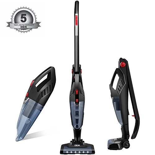 Deik Vacuum Cleaner, 2 in 1 Cordless Vacuum Cleaner, High-power Long-lasting 22.2V 2200mAh Li-ion Battery Powered Rechargeable Bagless Stick and Handheld Vacuum with Upright Charging Base Image