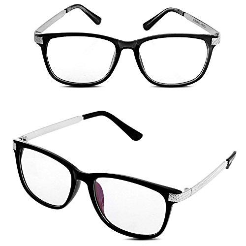 Doober Men Women Vintage Eyeglass Frame Glasses Spectacle Clear Lens Optical Eyewear (Sliver, - Lenses Frames Optical