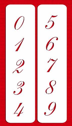 Numbers Designer - Designer Stencils C143 2.25 Inch Script Numbers Cake Stencils, Beige/semi-transparent