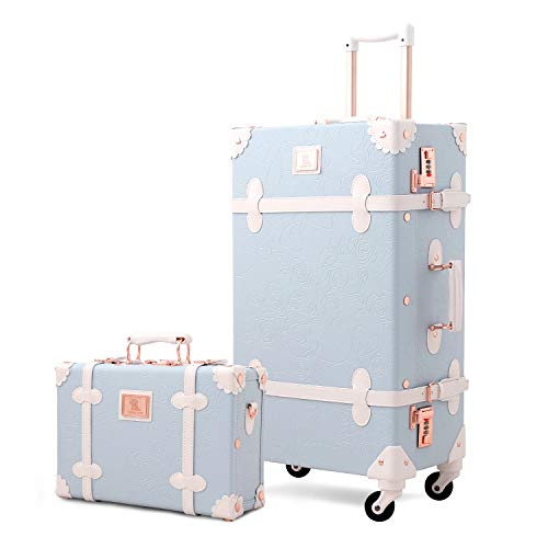 Unitravel Vintage Luggage Set Rolling PU Trunk Suitcase with Handbag (Blue, 26inch+12inch)