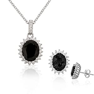 925 Sterling Silver Black White CZ Oval Charm Womens Pendant Necklace Stud Earrings Set