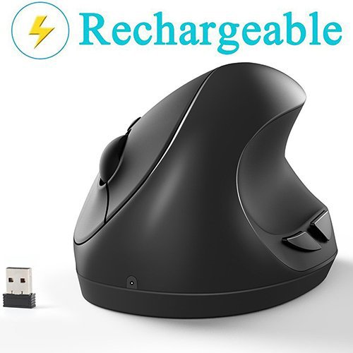 Vertical Mouse, 7Lucky Small Rechargeable Ergonomic Wireless Mouse 2.4GHz High Precision Optical Mice : 3 Adjustable DPI Levels, 6 Buttons for PC, Desktop, Laptop,【for Small Hands】- (Laptop Mouse Stick)