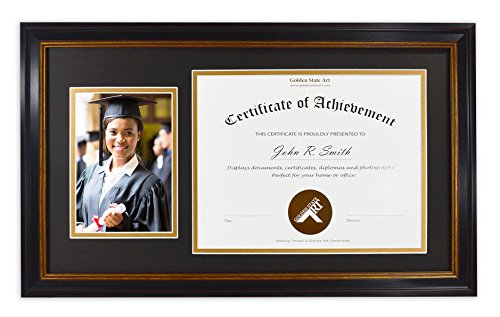 Golden State Art, For 8.5x11 Certificate & 5x7 Picture, Diploma Photo Frame, Color: Black with Burgundy & Gold Trim. Includes Black/Gold Double Mat and Real Glass (Burgundy Gold Trim)